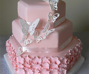 cake, pink, and butterfly image