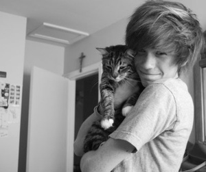 boy, cute, and cat image