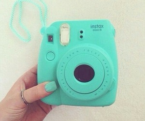 camera, polaroid, and blue image