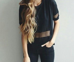 black, clothes, and hair image