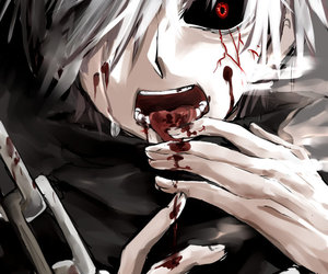 blood, eyes, and tokyoghoul image