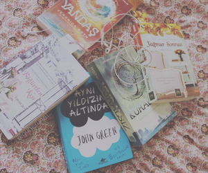 bed, books, and earphones image