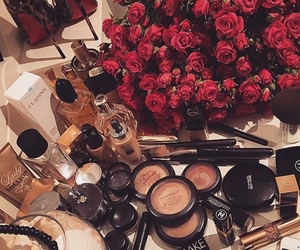 makeup, rose, and cosmetics image