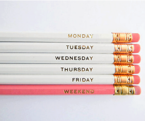 pencil, weekend, and pink image