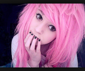 pink hair, cute, and emo girl image