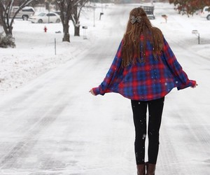 flannel, winter, and girl image
