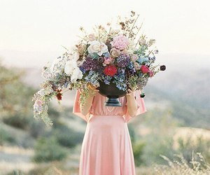 dress, flowers, and girl image