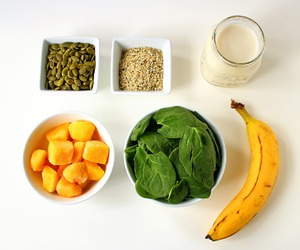 almond milk, banana, and fit image