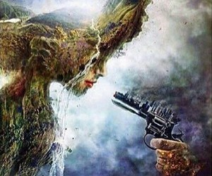 nature, gun, and art image
