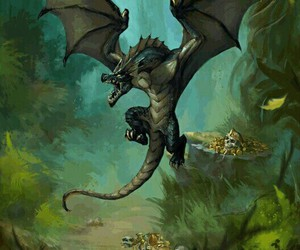 art, coins, and dragon image