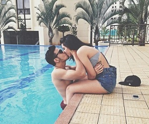 couple, love, and pool image