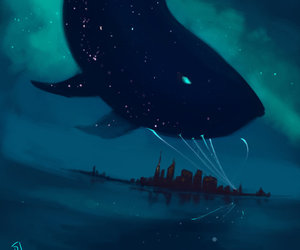 whale, sky, and stars image