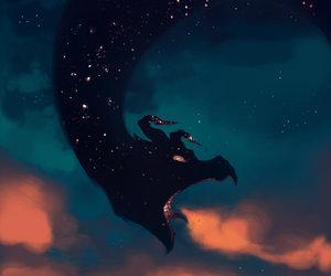 dragon, sky, and stars image
