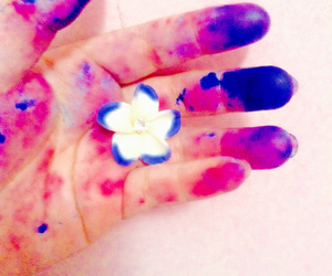 blue, flower, and hand image