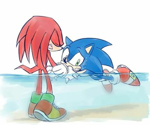 hedgehog, knuckles, and sonic image