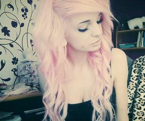 fashion, piercing, and pink hair image