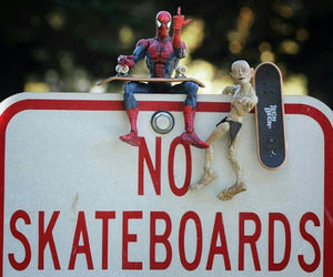skateboard and spider-man image