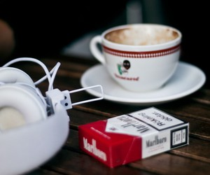 cigarettes, coffee, and headphones image