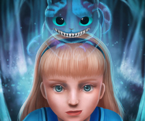 alice, cat, and cheshire image