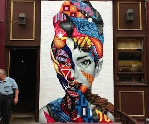 art, street art, and audrey hepburn image