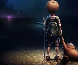 boy, alone, and teddy bear image