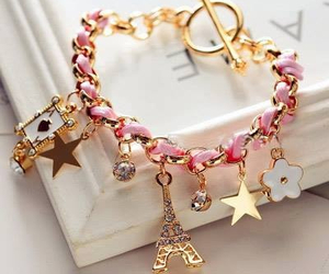 bracelet, paris, and pink image