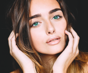 beautiful, brunette, and green eyes image