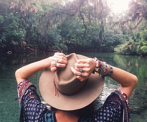 girl, hat, and nature image