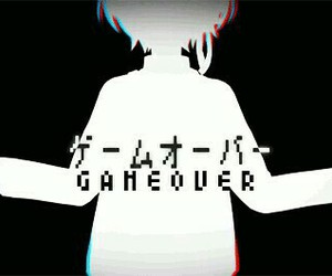 anime, game over, and black and white image