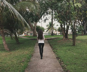 girl, leaves, and park image