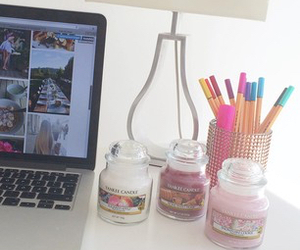 room, girly, and laptop image