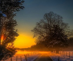 nature, winter, and sunset image
