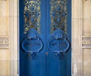 door, architecture, and blue image