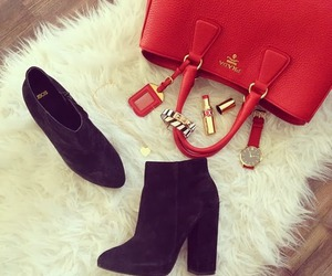 bag, lipstick, and boots image
