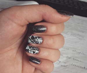 black, holographic, and nail art image