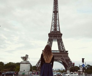 paris, girl, and eiffel tower image