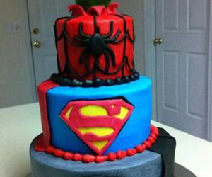cake, superman, and spiderman image