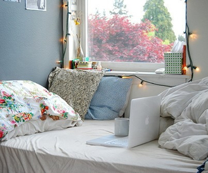 bedroom, light, and blue image