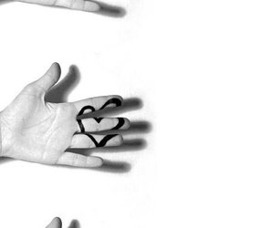 love, black and white, and heart image