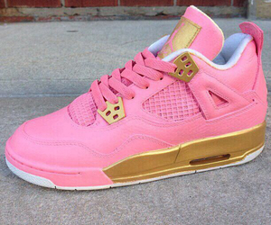 gold, pink, and jordans image