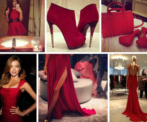 red, dress, and shoes image