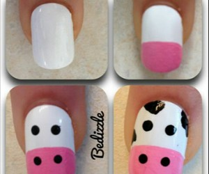 nails, cow, and nail art image