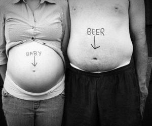 baby, beer, and couple image