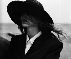black & white, fashion, and hat image