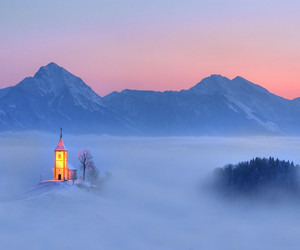 beautiful, church, and fog image
