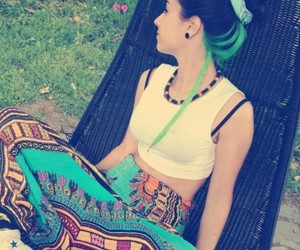 colours, messy bun, and beautiful image