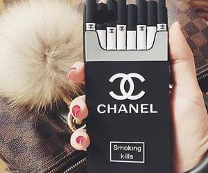 chanel, black, and cigarette image