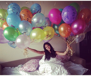 balloons, girl, and surprise image