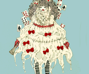 alice in wonderland, art, and bows image