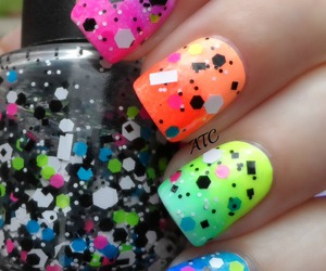 nails, neon, and nail art image